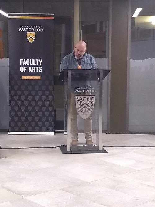 Doug Cowan makes acceptance speech.