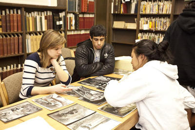 Students studying in a library.