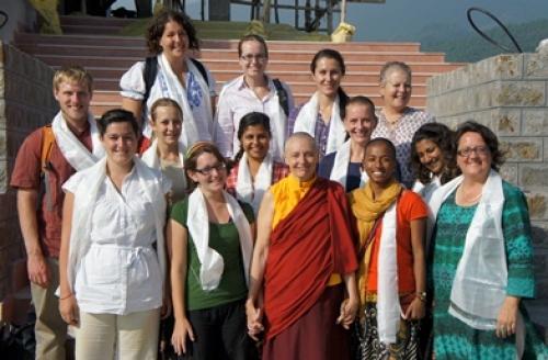 Professor Doris Jakosh and students in India, 2011.