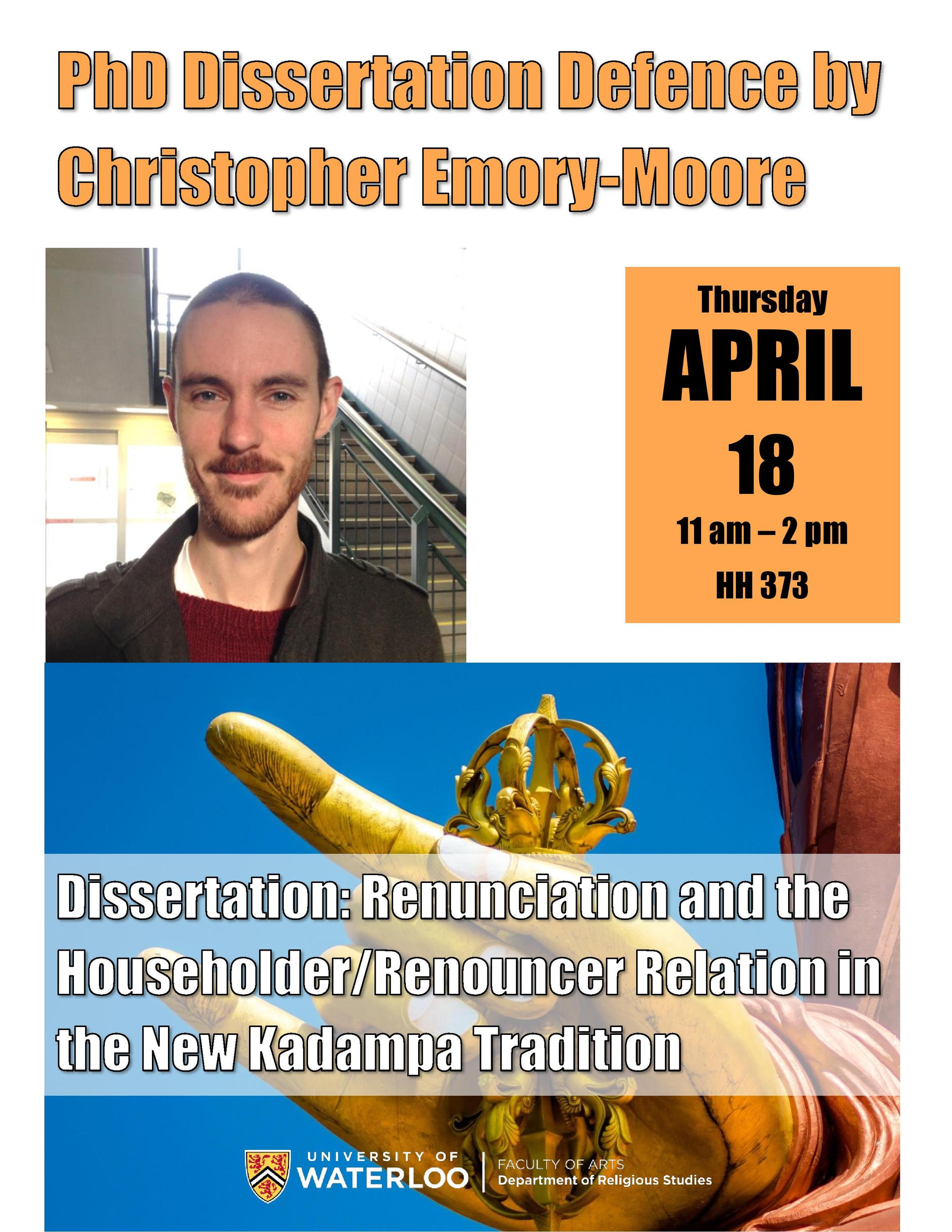 Event poster for Christopher Emory-Moore's PhD defence.