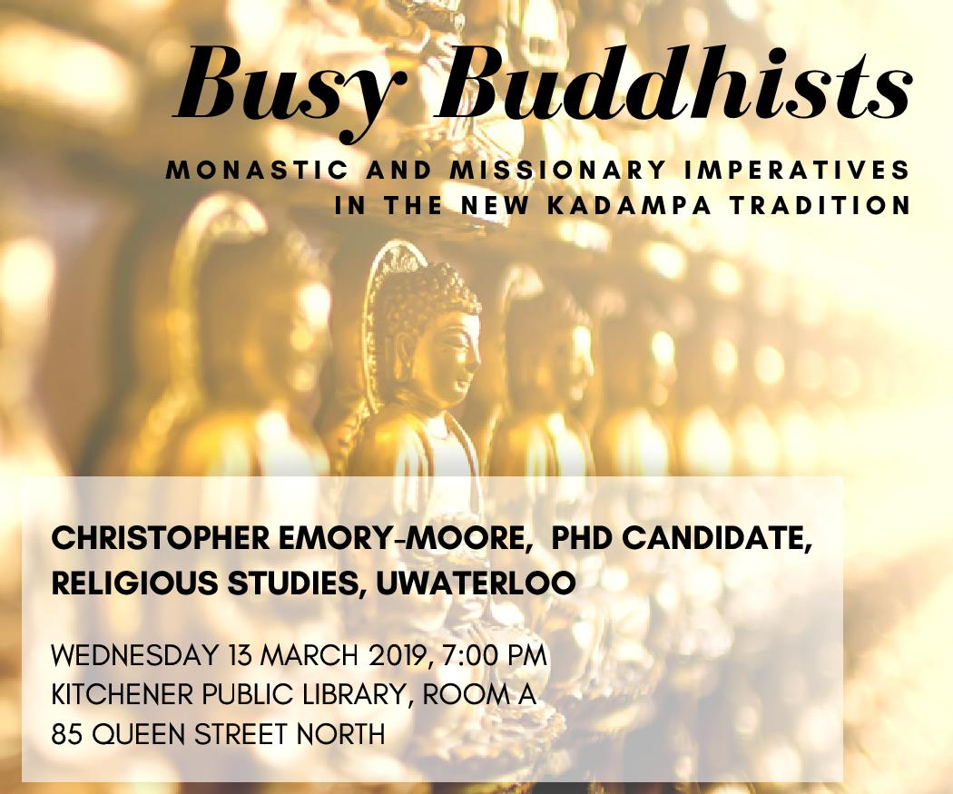 Image of multiple golden buddhas in a line with title of lecture and location information