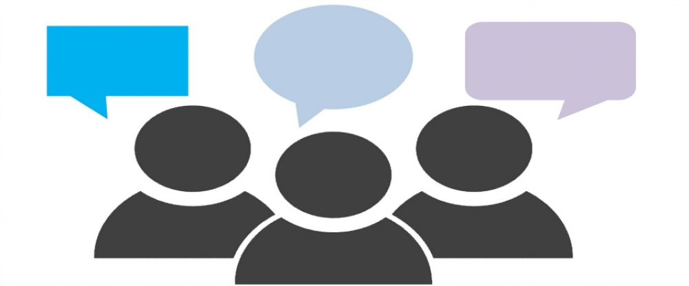 three animated people figures with three speech bubbles