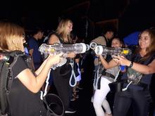 students playing laser tag