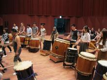 students in a drum workshop