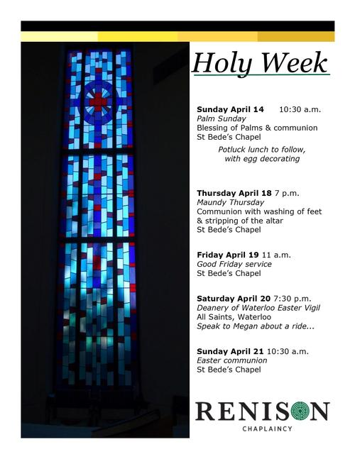 Holy Week schedule for St. Bede's Chapel