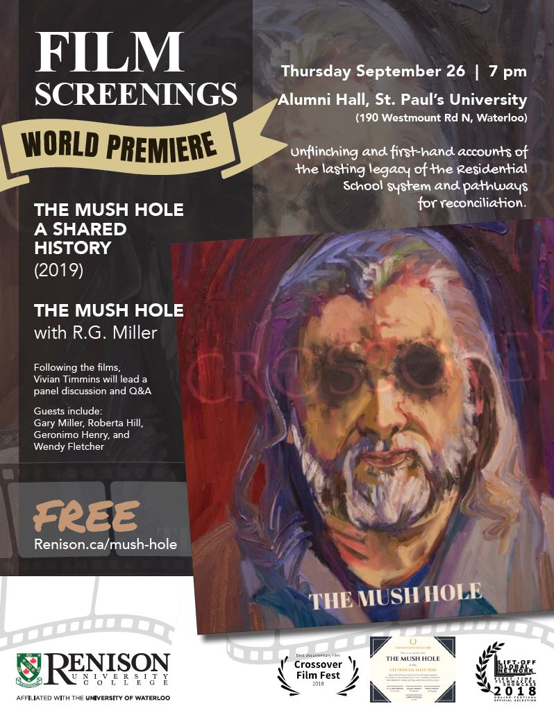 Mush Hole Poster, with self portrait by RG Miller. Sept 26 at 7pm at St. Paul's alumni hall. Free admission.