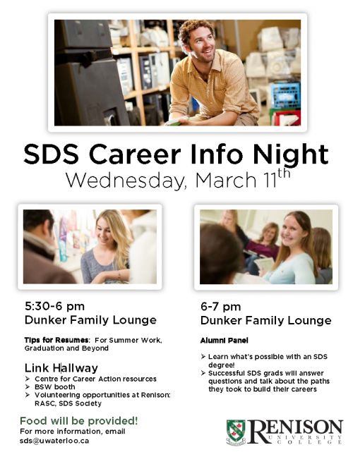 poster for SDS Career info night