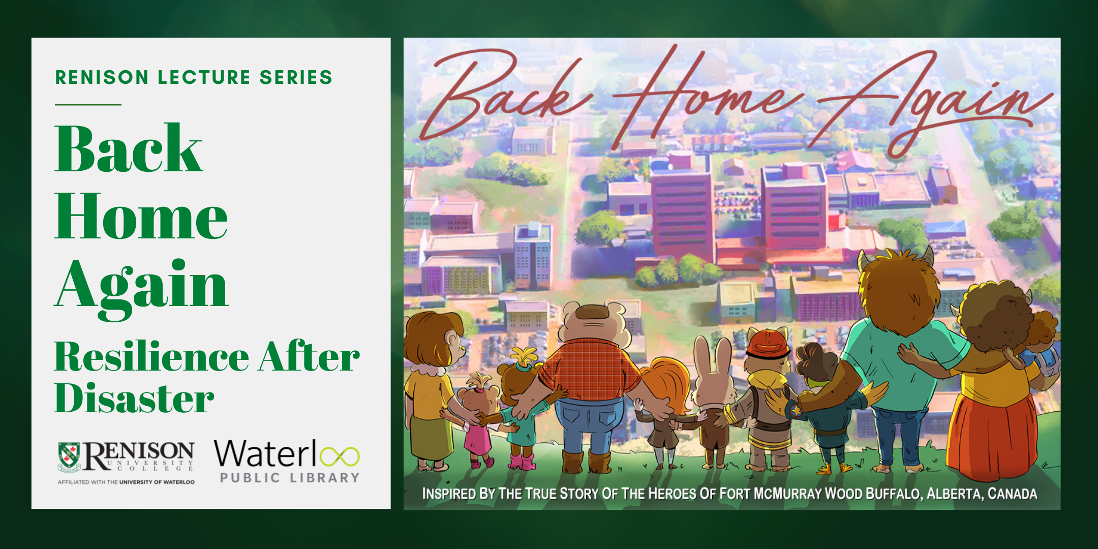 Event image with image from movie Back Home Again, animated animals looking out over a town.