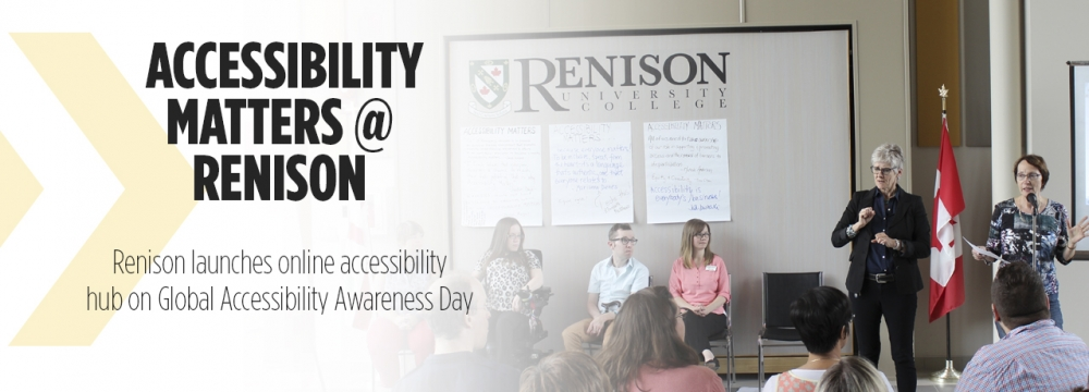 Accessibility Matters at Renison, Renison launches online accessibility hub on GAAD, Judi Jewinski speaks to crowd