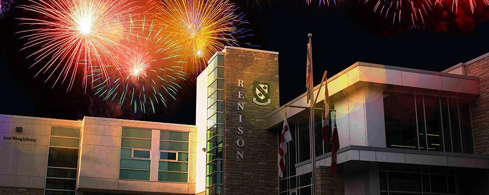 Renison building with fireworks.
