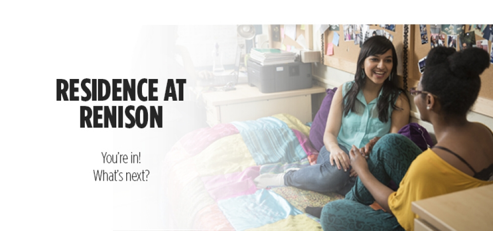 Residence at Renison | You`re in! What`s next? Girls sitting and talking in Renison residence room