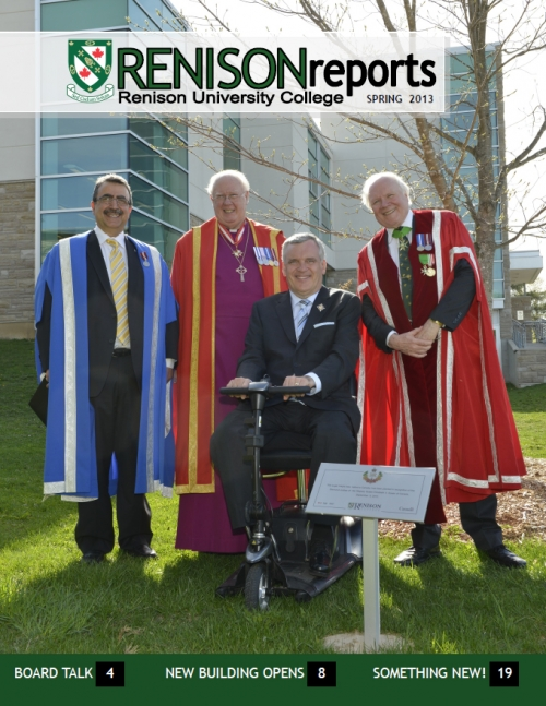 The Hon. David C. Onley, Lieutenant Governor of Ontario, with Chancellor Ralph Spence, Principal Glenn F. Cartwright and President of the University of Waterloo, Dr. Feridun Hamdullahpur, in front of Renison's Diamond Jubilee Tree.