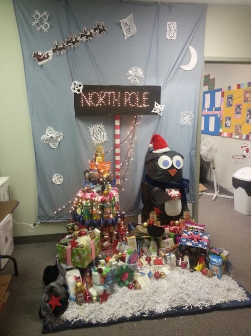 donations form a scene from the north pole!
