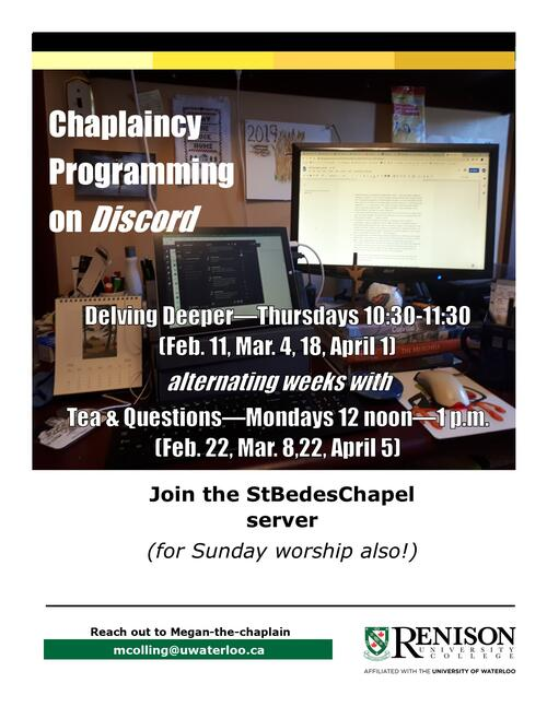 chaplaincy programming information poster hosted on discord