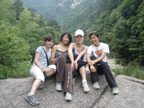Students pose in China