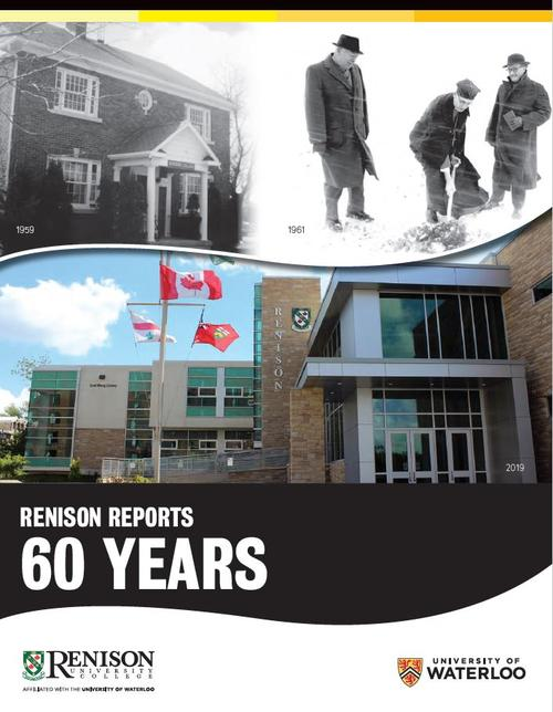Cover of the 2019 edition of Renison reports, featuring three images of Renison's building in 1959, 1961 and 2019.