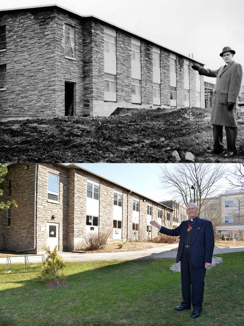 Harvey Southcott standing in front of the Founders Building at Renison in 1961 and 2013.