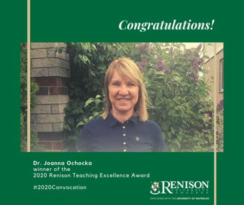 Dr. Joanna Ochocka, winner of the Renison Teaching Excellence Award