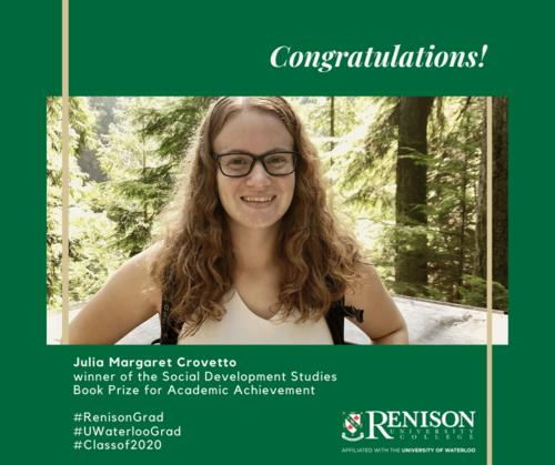 Julia Margaret Crovetto, winner of the Social Development Studies Book Prize for Academic Achievement