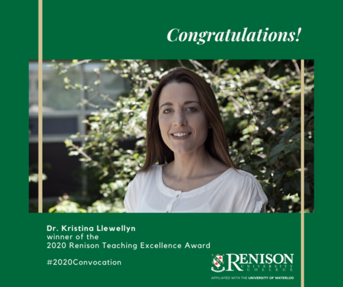 Dr. Kristina Llewellyn, winner of the Renison Teaching Excellence Award