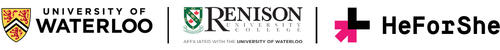 Logos of the University of Waterloo, Renison, and HeForShe