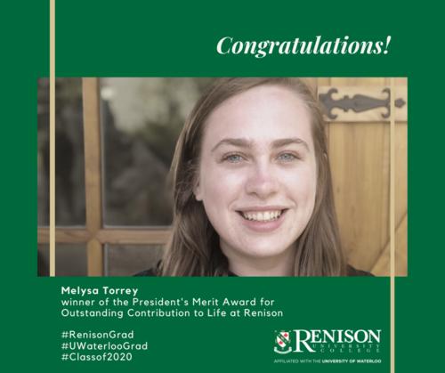 Melysa Torrey, winner of the President's Merit Award for Outstanding Contribution to Life at Renison