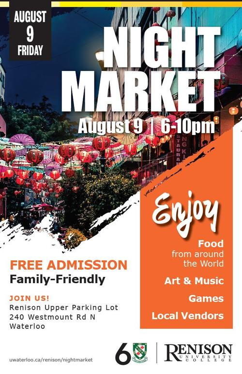 Night Market poster with colourful lanterns in the background.