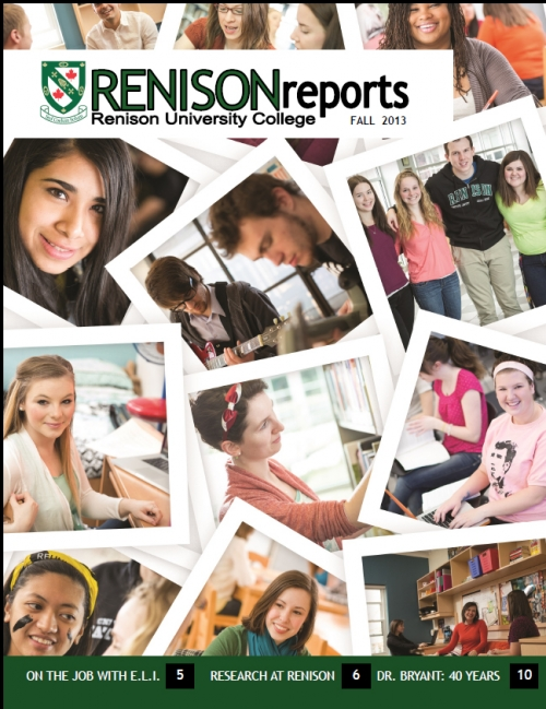Cover of Fall 2013 Renison Reports.  Collage made up of photos of Renison students.