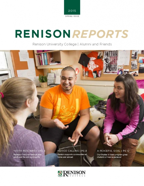Cover of Renison Reports - Spring 2015.  A male student sits on a chair in a residence room chatting with two female students.
