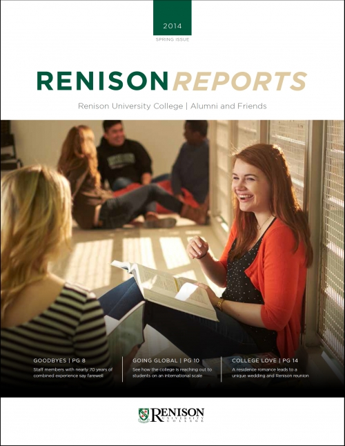 Cover photo of Renison Reports Spring 2014.  A female student sits on the floor while chatting with a friend.