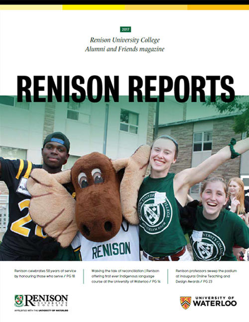Cover of the 2017 edition of Renison reports, featuring three Renison students posing with Reni Moose