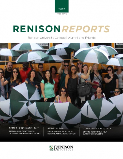 Cover of Renison Reports Fall 2015.  Students infront of a school bus, holding umbrellas