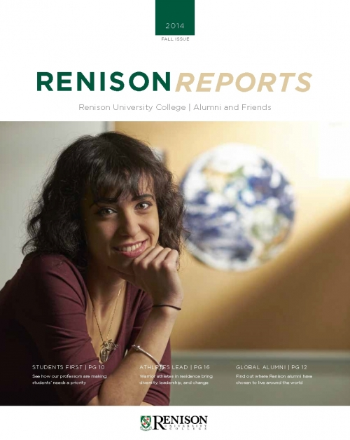 Renison Reports Fall 2014 cover.  A female student leans with her hand on her chin.  A globe is in the background.