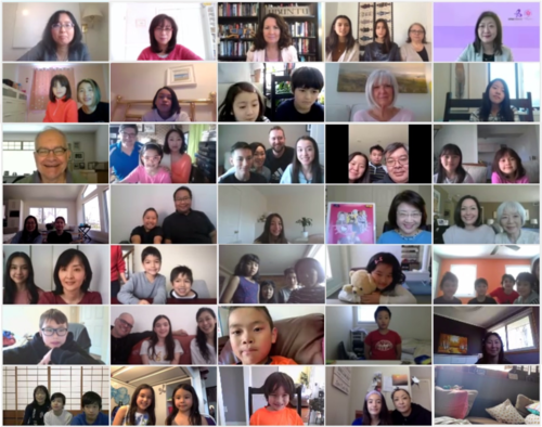 Participants of the Sakura tenth anniversary on a video call.