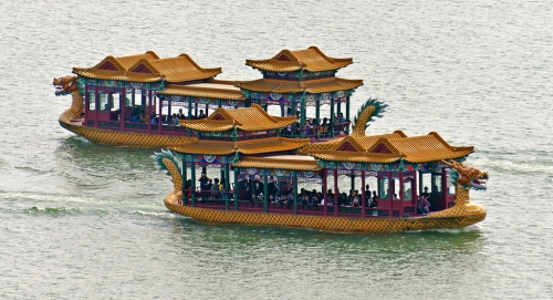 summer palace boats on water image