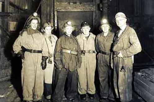 Photograph of Bishop and Mrs. Renison visiting a mine