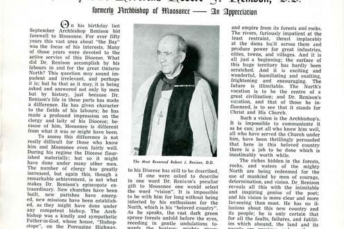 Article about Archbishop Renison from 1955