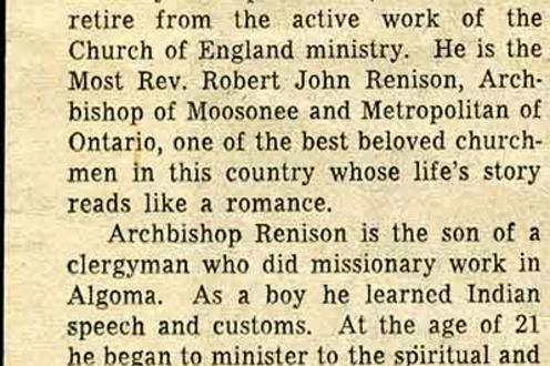 An announcement of The Most Reverend Robert J. Renison's retirement