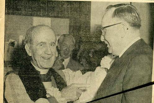 Newspaper standalone of the Archbishop with Karl Eyre