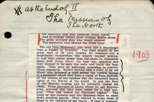"First page of sermon ""Missions of the North"" (1908)"