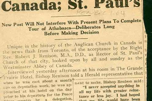"Newspaper article ""Will Be Rector of Greatest Church in Canada; St. Paul's"""