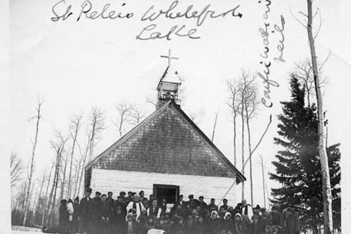 Photograph of a mission church in the Athabasca Diocese, St. Peter's Whitefish Lake