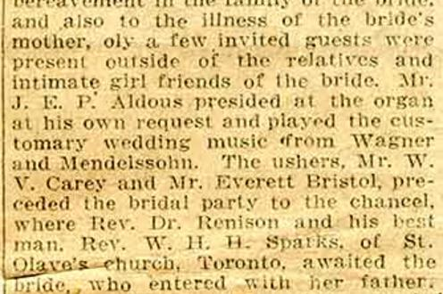 Announcement of the marriage of the Rev. Robert J. Renison to Elizabeth Bristol
