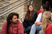 Renison students hanging out on the front steps