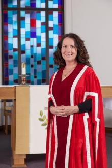 Principal Wendy Fletcher in Renison's Chapel of St. Bede