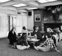 Students sitting in the Moose Room