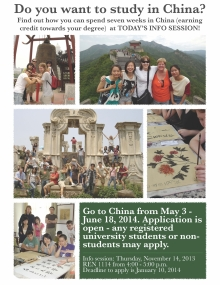 poster about the China Trip 2014 information session