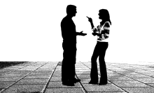 silhouette of a couple arguing