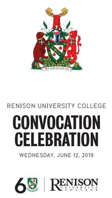 Front of convocation program. Renison university college coat of arms, convocation celebration, Wednesday, June 12, 2019.
