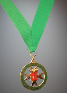 A green medal hung from a green ribbon.